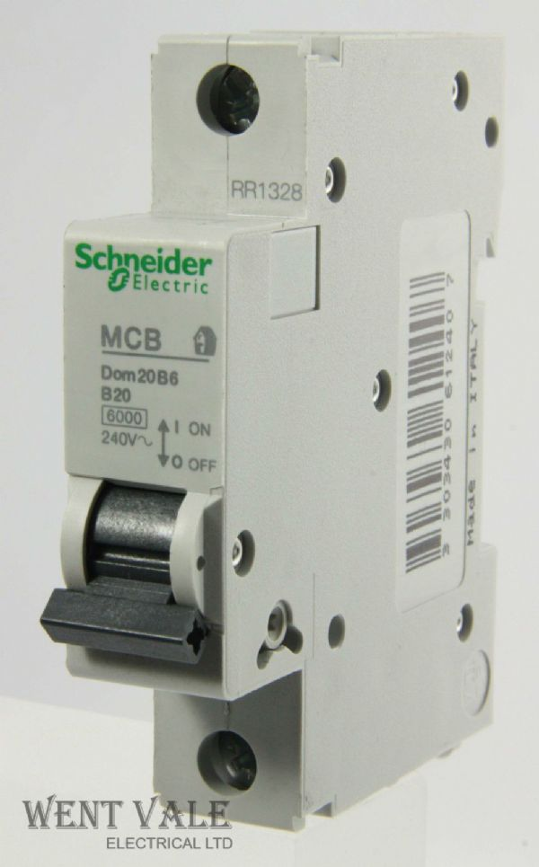 Schneider Domae - DOM20B6 - 20a Type B Single Pole MCB Un-used